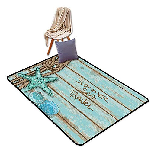 Bedroom Floor Rug Starfish Decor Summer Sea Travel Retro Boards of Ship Deck Rope Scallops W55 xL79 Suitable for Restaurants,Family Rooms,corridors,foyers.