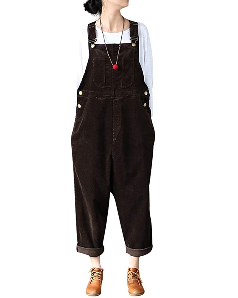 Mrs Duberess Women's Casual Plus Size Pants Rompers Overalls Leisure Corduroy Jumpsuit with Pockets Black) A540262868805H