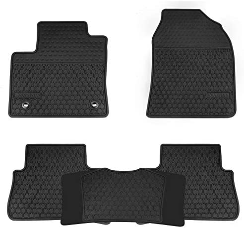 San Auto Car Floor Mats Custom Fit for Toyota C-HR 2018 2019 2020 2021 Full Black Rubber Car Floor Liners Set All Weather Protection Heavy Duty Odorless