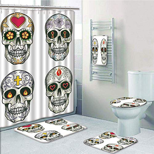 Bathroom 5 Piece Set Shower Curtain 3D Print Customized,Skull,Set of Ethnic Mexican Skulls with Heart and Flower Motifs Calavera Day of The Dead Print,Multi,Bath Mat,Bathroom Carpet Rug,Non-Slip,Bath by iPrint