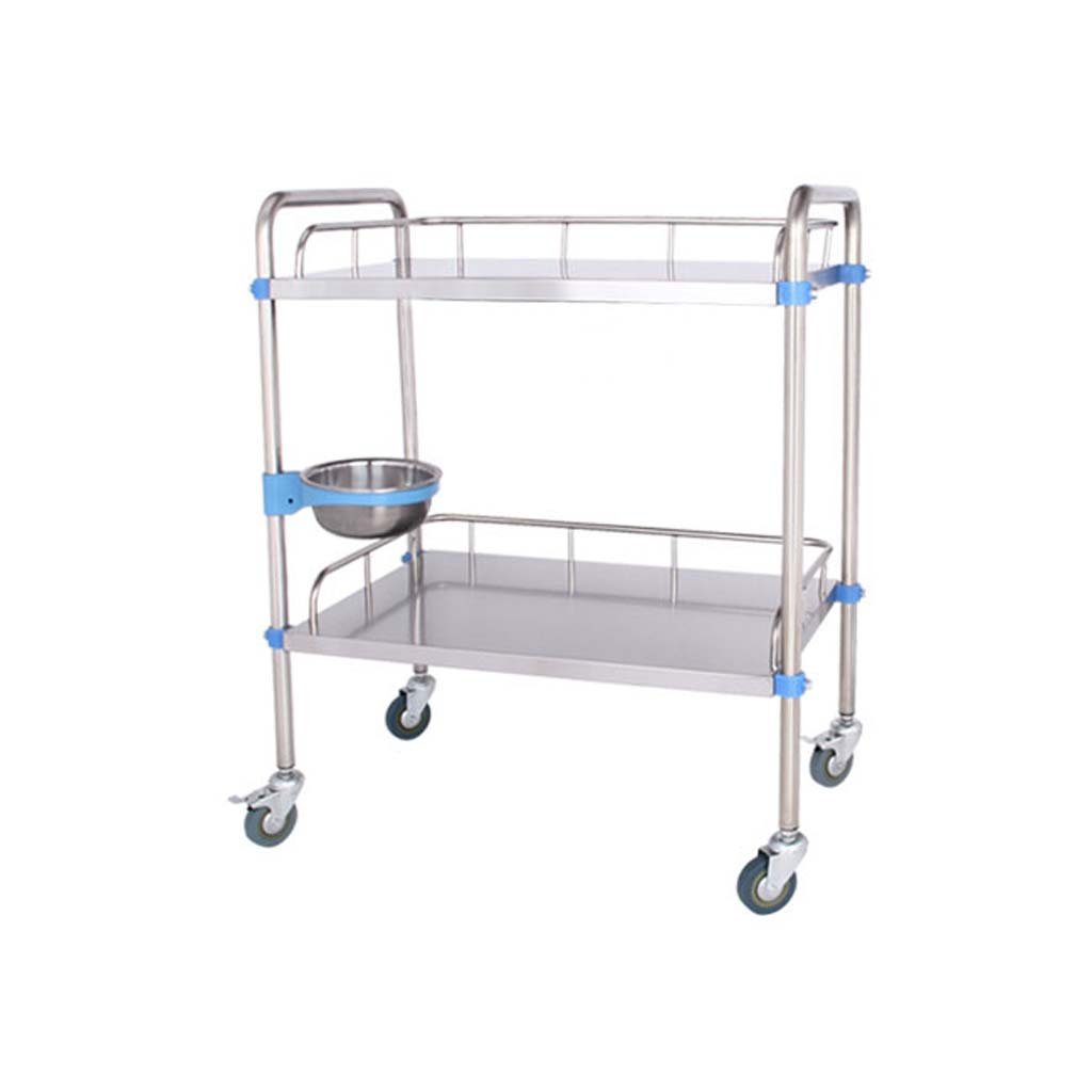 Jian E Stainless Steel Trolley-Double Cart Trolley Trolley Care Dressing Medical Cart Clinic Beauty (Color : 804886cm)