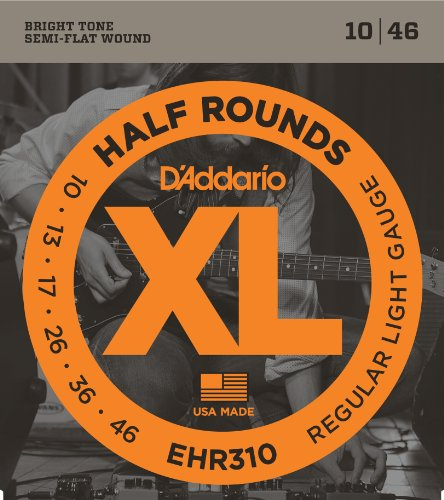 D'Addario EHR310 Half Round Electric Guitar Strings, Regular Light, (Electric Guitar Flat)