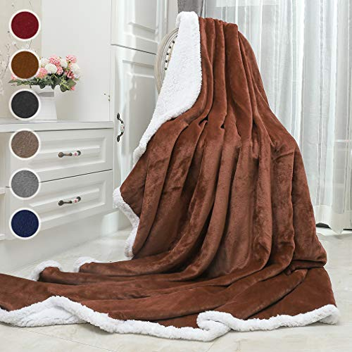 (Awenia Sherpa Blanket, Throw Blanket Super Soft, Cozy, Lightweight Flannel, Reversible, Ultra Luxurious Plush Blanket All Season Couch Bed Blanket (Brown, Twin Size 60 x 80)