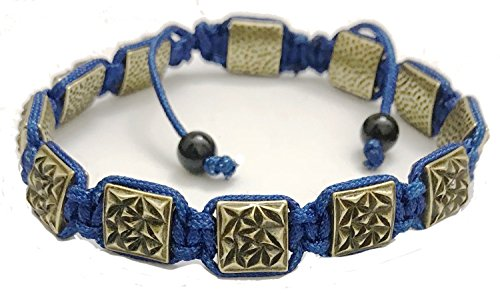 KarmaArm Flat Bead Bracelets Textured Antiqued Gold | Blue Cord, Adjustable Yoga Reiki Chakra BoHo Flatbead Meditation Mens Jewelry (8) - Antiqued Gold Bracelet