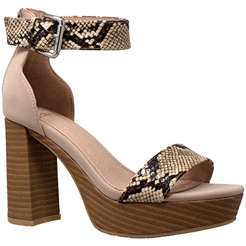 - Women's High Platform Sandals Ankle Strap Chunky Block Heels Open Toe Shoes Taupe Snake Skin SZ 9