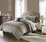 Nanshing America JOSELINE7-Q Joseline 7 Piece Comforter Set, Grey/Buttercup, Queen