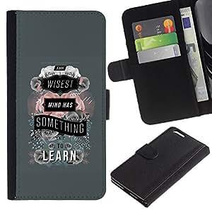 All Phone Most Case / Oferta Especial Cáscara Funda de cuero Monedero Cubierta de proteccion Caso / Wallet Case for Apple Iphone 6 PLUS 5.5 // Grey Learn Teacher School Text Quote