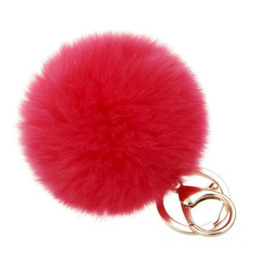SUPPION Furry Metal Pompom Ball Keychain Bag Plush Car Key Ring Pendant (Red)