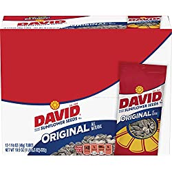 DAVID Roasted and Salted Original Sunflower Seeds, 1.625 oz, 12 Pack