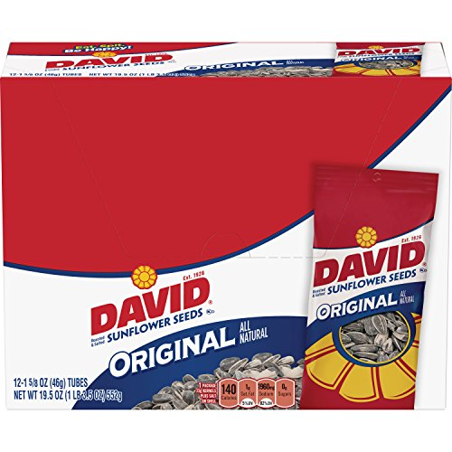 DAVID Seeds David Sunflower Seeds, Original, Roasted & Salted, 1.625-Ounce Unpriced Tubes (Pack of 12)