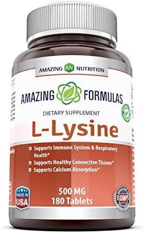 Amazing Formulas L-Lysine - 1000mg Amino Acid Vitamin Tablets Non-GMO - Commonly Used for Cold Sores, Immune Support, Respiratory Health More - 180 Vegetarian Tablets Per Bottle