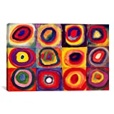 Museum quality Squares with Concentric Circles By Wassily Kandinsky Canvas Print. The art piece comes gallery wrapped, ready for wall hanging with no additional framing required. This print is also available in multi-piece or oversized formats, perfe...