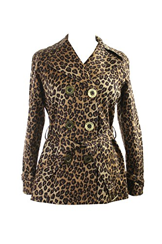 Michael Michael Kors Petite Brown Leopard Double-Breasted Trench Coat PS (Michael Michael Kors Double Breasted Jacket Apparel)