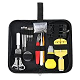 eCommerceTek 15PCS Watch Repair Kit Professional Tool Set Back Case Opener Pin Link Remover Wrist Strap Adjust Fix Battery Bracelet Spring Bar With Carrying Case