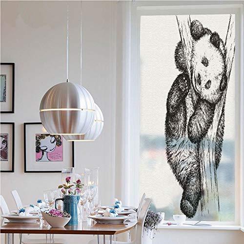 RWNFA Self-Adhesive Privacy Glass Window Film,Cute Little Panda Bear on Tree Branch Fury Tropical Jungle Zoo Sketchy Print(19.7