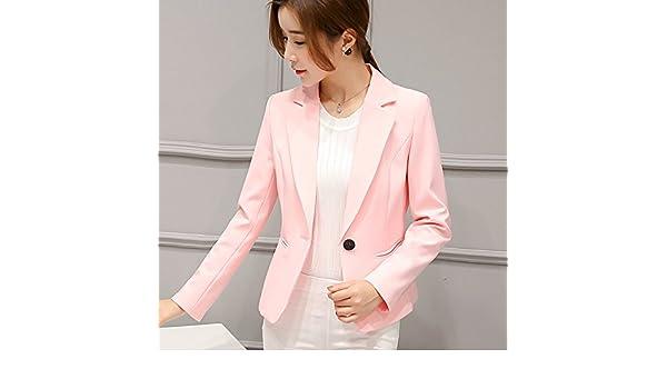 La mujer traje pequeño delgado Slim Color sólido estilo corto, luz rosa, XXL: Amazon.es: Ropa y accesorios