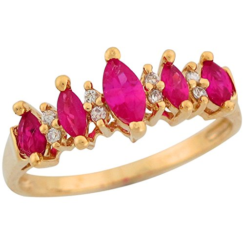 Marquise Simulated Ruby - 10k Yellow Gold Marquise Cut Simulated Ruby White CZ Beautiful Ladies Ring