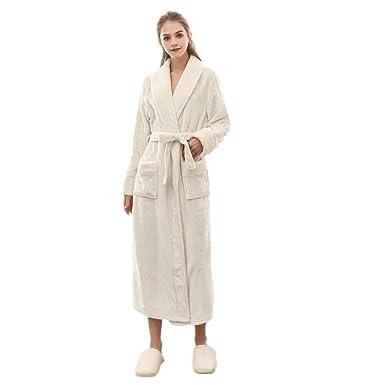 fc12ffacc0a4d BaZhaHei Peignoir Femme Chaud Hiver Peluche Flanelle, Robes de Chambre et  Kimonos Nuit Peignoir de
