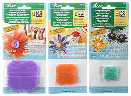 - Bundle of Three (3) Kanzashi Gathered Petal Flower Makers: Large (Makes 3 inch Flowers), Small (Makes 2 inch Flowers), and Extra Small (Makes 1.5 inch Flowers)