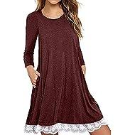 AMSKY❤Women's Long Sleeve Cotton Loose Lace Crochet Swing T Shirt Dress with Pockets Beach Sundress