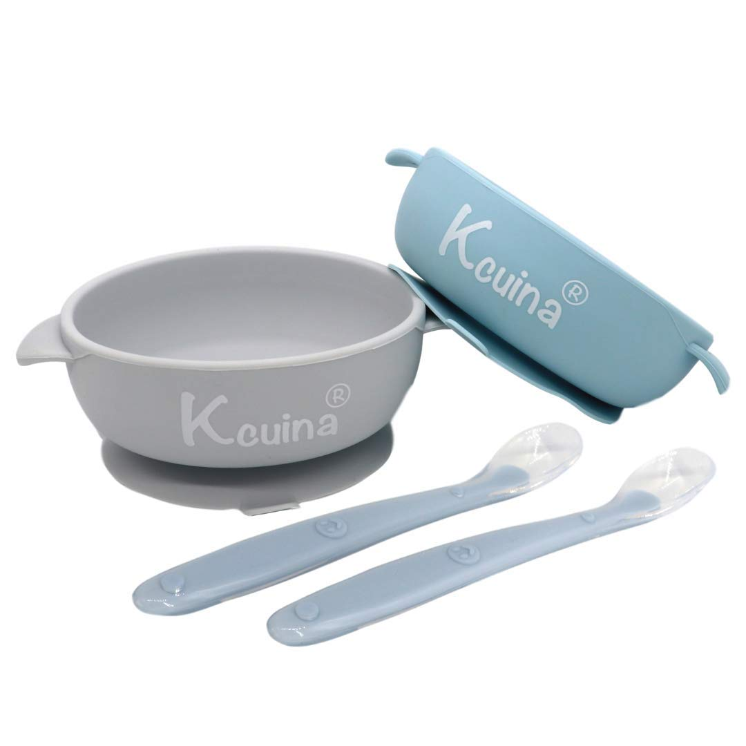 Kcuina 4 Pieces Baby Feeding Set- Includes 2 Strong Suction Bowl, and 2 Soft Spoon Set- Food Grade Approved Silicone (Blue Chill/Gray)