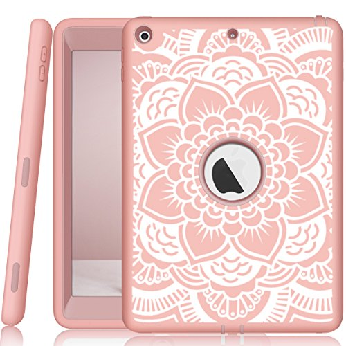 iPad 5th/6th Generation Case, Hocase Heavy Duty Shock Absorbent Rubber+Hard Plastic Dual Layer Protective Case w/Mandala Floral Print and Kickstand for iPad 9.7 2018/2017 - Rose Gold by Hocase