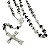 Stainless Steel Mens Womens 8mm Silver Rubber Rosary Bead Chain Necklace 30'' + 6'' Long Drop