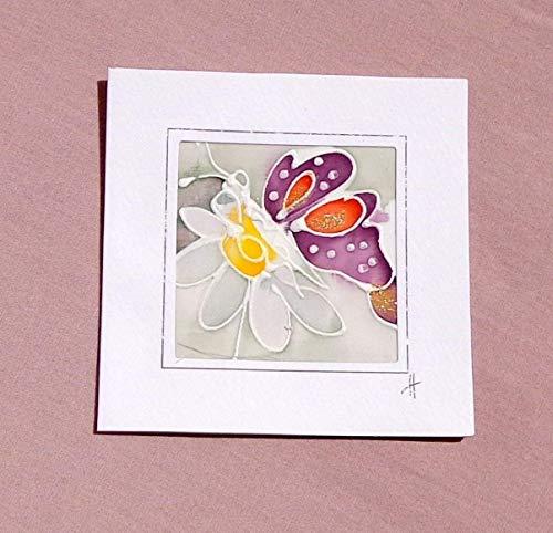 White Butterfly card,Paintings on Silk-Batik,Personalised Butterfly Card,Butterfly Mother's Day Card,Spring Butterfly Card,Butterfly Gift,Card Garden.