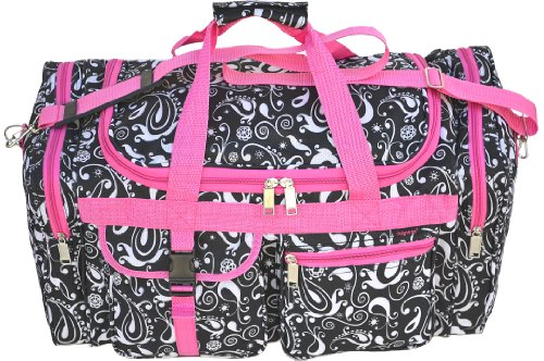 Explorer Duffel Bag, Black/White Paiseley/Pink Trim, 22-Inch (Pink Bags 22')