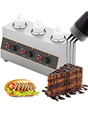 New Electric Food Sauce Warmer Heater-3 Grids,480W Jam Chocolate Butter Cheese Heat Preservation Machine Multifunction Topping Warmer with 3 Squeeze Sauce Bottles