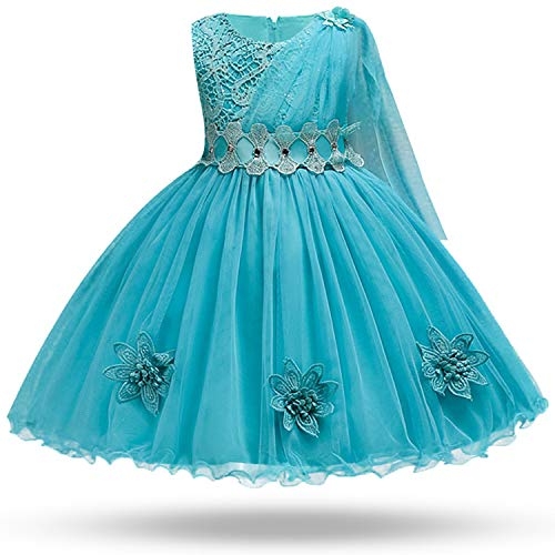 MoMo Children's Summer Unique Lace Wedding Dress Sequin Applique Mesh Girl Baby Party Dress Children's Day Piano Performance Dress, 6 ()
