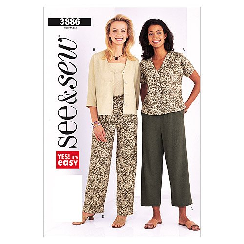 (BUTTERICK PATTERNS B3886 Misses'/Misses Petite Jacket & Pants, Size C (20-22-24))