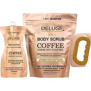 Deluge–Esfoliante biologico al caffè 100% naturale, tonifica e riduce la cellulite, 283 g + Lozione idratante per il corpo, 170 g