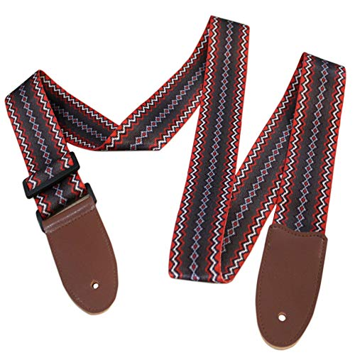 Sindgard's Navajo Blanket Guitar Strap - Woven Polyester - Red Brown & White Stripes 35-62