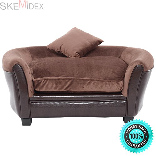 SKEMiDEX---Pet Sofa Ultra Plush Snuggle Soft Warm Dog Puppy Sleeping Bed w/ 2 Cushion Brown. This super-soft pet bed with bolster is designed with comfort in mind The bolster is for your pet to rest by SKEMiDEX