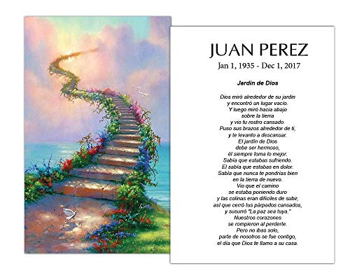 Funeral Memorial Prayer Cards (50 Cards) FPC1009EN Stairs to heaven (Custom Printed - Select Desired Prayer) ()