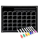 Magnetic Refrigerator Chalkboard,Calendar Monthly Planner, Dry Erase Board, For Kitchen Fridge with 8 color Magnetic Markers (16inchx12inch, Horizontal FLAT PACK)