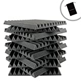 SoundFOAM 12-Pack Black Sound Control Foam Wedge Sheets with Improved Sound Absorbing and Egg Carton Build - Works AKG , Audio Technica , CAD , MXL and More Studio Microphones