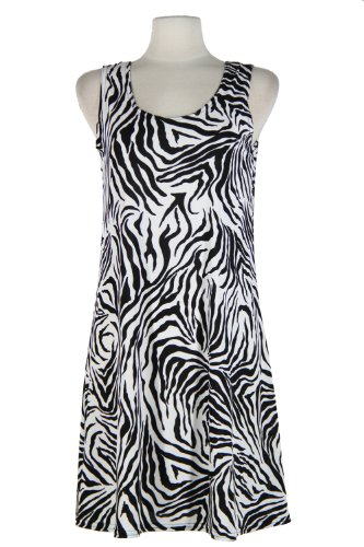 Jostar Stretchy Missy Tank Dress with Print in Animal Design Black Color in Large Size - Animal Print Tank Dress