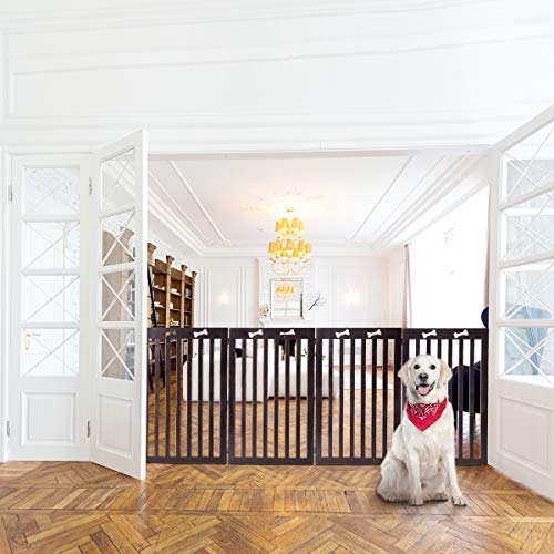 Docamor MDF Collapsible Pet Gate Freestanding Foldable Stair Gate for Dogs and Family Use, Z Shape Folding Step Over Fence, Dog Gate for Doorway, Stairways, 4 Panel 20'' ×36'' Espresso -
