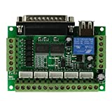 UEETEK 5 Axis CNC Breakout Board with optical coupler for Stepper Motor Driver MACH3/EMC2/KCAM4 (Green)