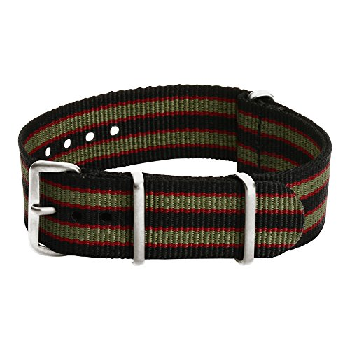 Clockwork Synergy Premium Nylon Nato Watch Straps bands Stainless Steel Hardware (20mm, Black / Green / Red)