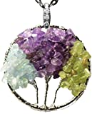 """Three Sisters Necklace Tree of Life Gemstone Jewelry Best Friend Silver Pendant Deluxe Gift 18"""" 24"""" Chain (Mixed gemstones tree)"""