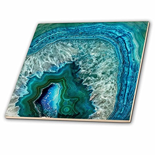 3dRose Uta Naumann Pattern - Luxury Aqua Blue Marble Agate Gem Mineral Stone - 8 Inch Ceramic Tile (ct_266902_3) ()