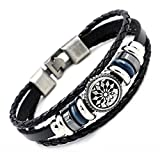 Handmade Punk Bracelet for Men Women Rock Vintage Wristband Leather Bracelet Cuff