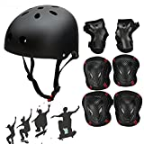 SymbolLife Adjustable Skateboard / Skate Helmet with Protective Gear Knee Pads Elbow Pads Wrist Guards for Kids BMX, Skateboard, Scooter, Bike, Roller, For Head Size M (52-57cm) Black