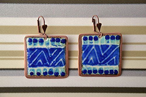 Square Copper Earrings Of Blue Color