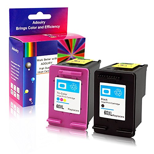 Adouiry Remanufactured for HP 60 XL Ink Cartridge 1 Black 1 Tri-color Combo Pack (CC641WN CC644WN) High Yield with Ink Level Display Compatible with Photosmart C4780 C4795 Deskjet F4480
