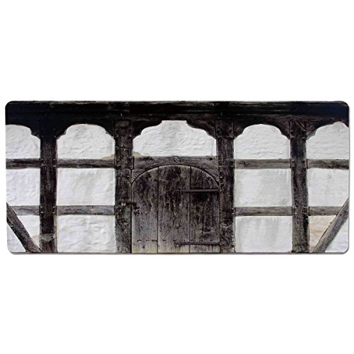 13800 Rug (iPrint Pet Mat for Food and Water,Shutters,Old Door of The Farmhouse Facade Ancient Architectural Detail Timber Framing,Charcoal White,Rectangle Non-Slip Rubber Mat for Dogs and Cats)