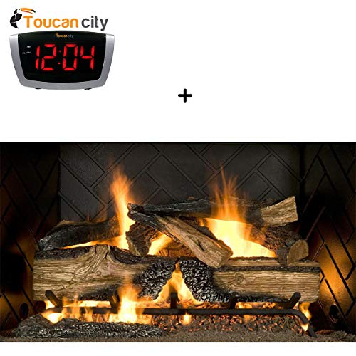 Toucan City LED Alarm Clock and Emberglow Country Split Oak 30 in. Vented Natural Gas Fireplace Logs CSO30NG ()